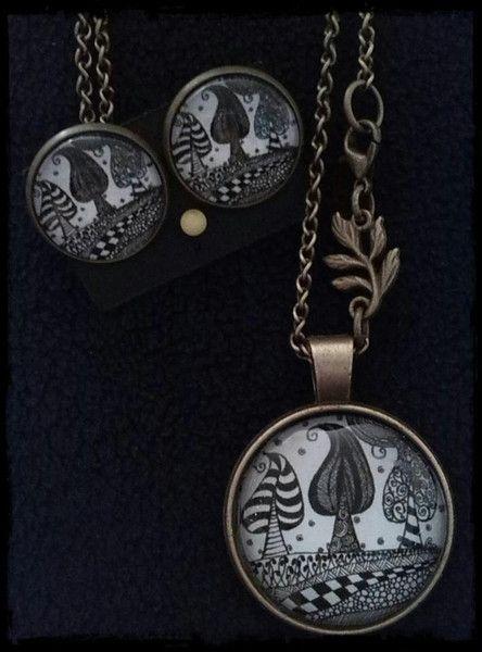 """CabochonschmuckSet """"Tangle-Trees"""" .. inspiriert von Zentangle® ..gezeichnet von SiebenPfeile"""
