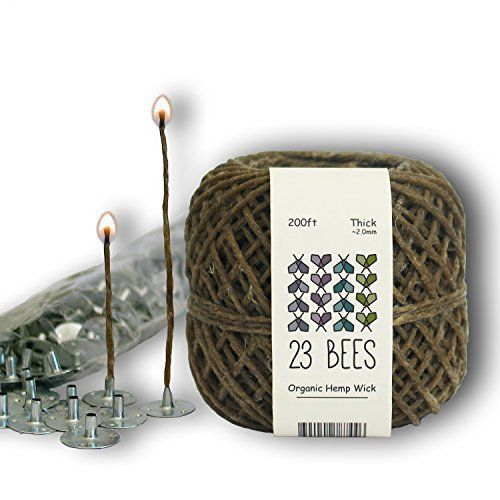 "NATURAL ALTERNATIVE to ""MYSTERIOUS"" CANDLE WICKS Stop inhaling chemicals released from unknown candles and candle wicks! Using 23 Bees (previously Twisted Bee) Hemp Wick will reduce harmful exposure to toxic chemicals and preserve the scent (and your lungs) from your next candle. 100%... see more details at https://bestselleroutlets.com/arts-crafts-sewing/crafting/candle-making/product-review-for-100-organic-hemp-candle-wick-wick-sustainer-tabs-23-bees-200ftthick-x-"