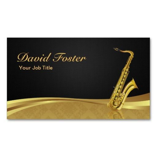 302 best musician business cards images on pinterest lyrics text saxophone brass instrument elegant gold damask business card reheart Choice Image