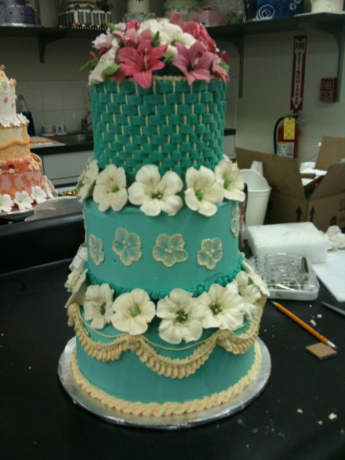 Tiffany Blue Wedding Cake Final For Wiltons Masters Course