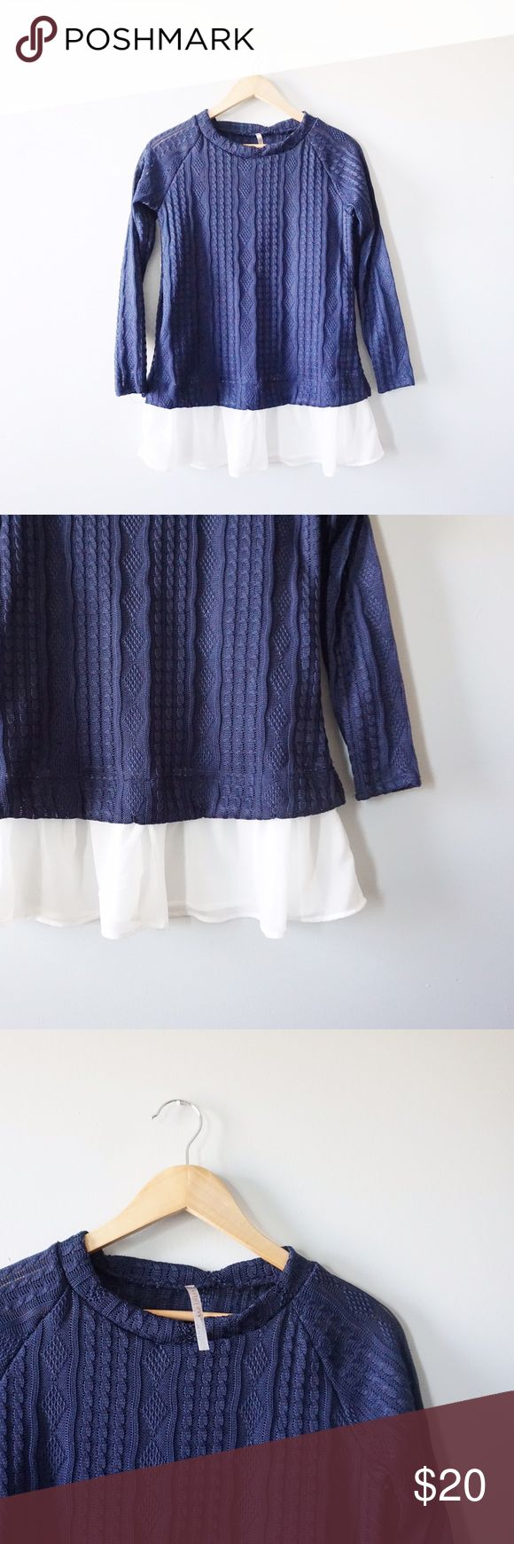 Knit Chiffon Peplum Layered Top Boutique brand Red Lolly blue and white peplum top size small. Chiffon detailing. Long sleeves. No stains rips or tears. Red Lolly Tops Blouses