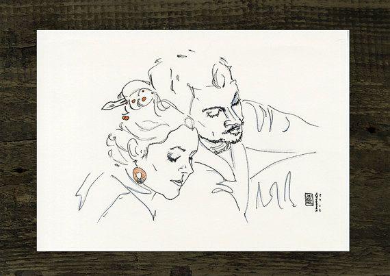 Personalisiertes Paar Portrait Original Illustration von Jouravel