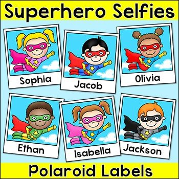 Superhero Theme Selfies Polaroid Labels: Your students will love these fun Superhero Selfie Polaroids!  Use them for name tags, locker labels, supply labels or anything else you can think of for your classroom.Please note, this product is for personal classroom use only and may not be used in any commercial or free products.
