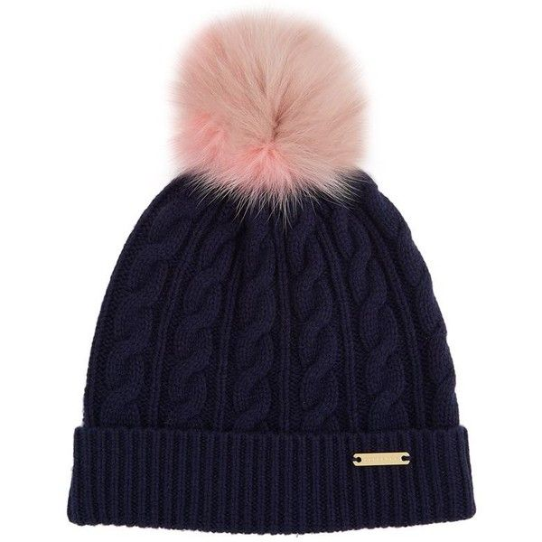 Burberry Shoes & Accessories Wool-Cashmere Pom Pom Beanie (£295) ❤ liked on Polyvore featuring shoes, hats, beanie, accessories, foldable shoes, golden shoes, burberry, burberry shoes and bright colored shoes