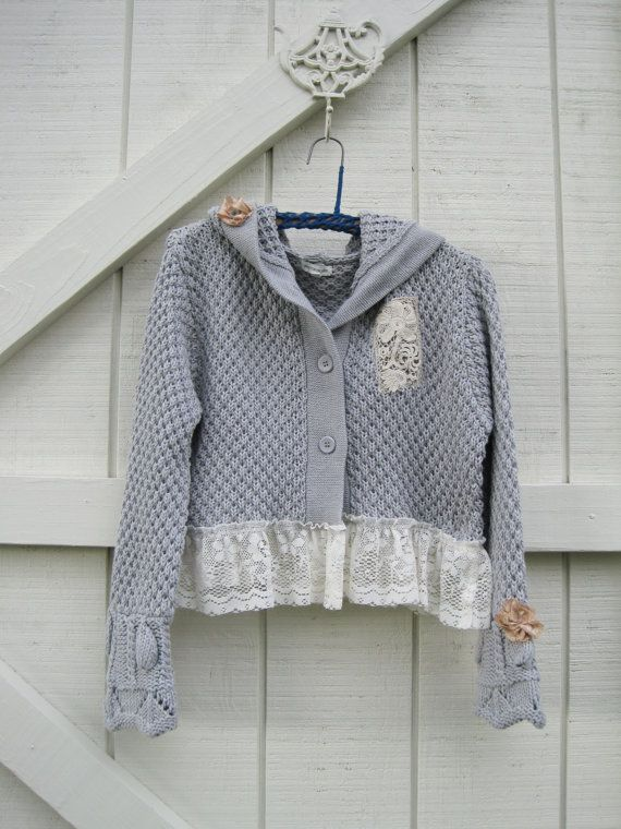 Hooded cardigan Sweater large Gray cropped by ShabyVintage on Etsy, $44.00