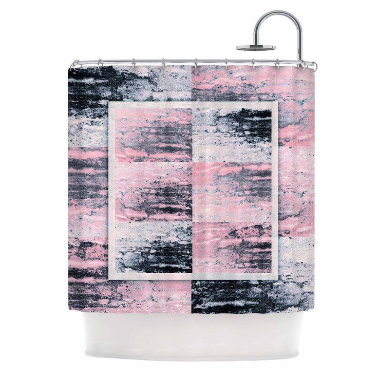 """Nina May """"Tavertina Pink"""" Gray Pink Mixed Media Shower Curtain - KESS InHouse"""