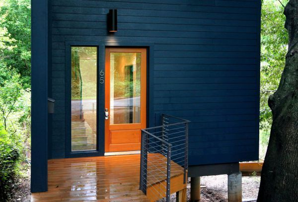 Image result for stucco house in dark blue | Exterior House paint ...