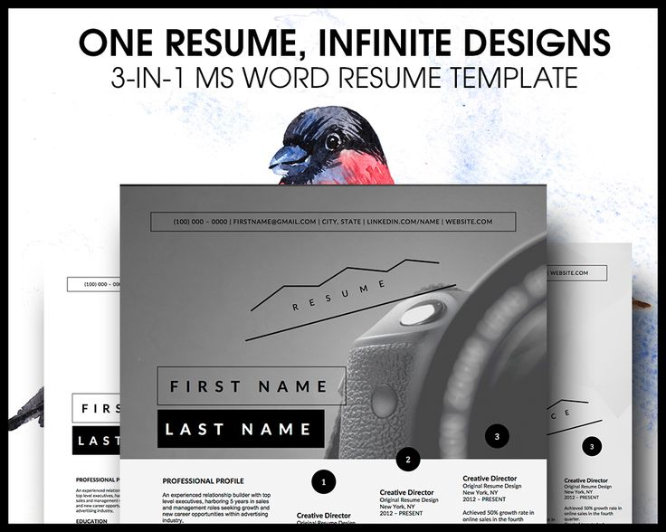 3 RESUME TEMPLATES FOR MICROSOFT  Create a beautiful layout of your resume using Microsoft Word. This template allows you to create a unique resume design using images and a creative timeline to gr...