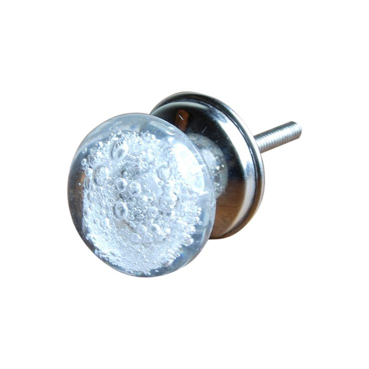 Clear Bubble Glass Knob, Set of 4