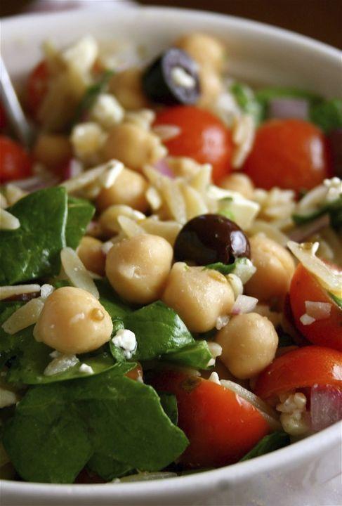 Mediterranean Orzo Salad - use quinoa or wild rice to make GF (if no GF orzo pasta)