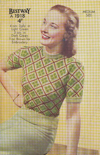 VINTAGE 1940's KNITTING PATTERN PLAID FAIR ISLE JUMPER