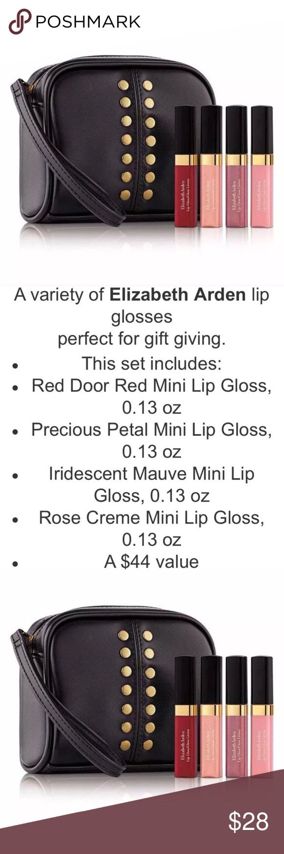 💄MOM Lip Gloss Gift Set Bag Petal Mauve Pink Red Elizabeth Arden Lip Gloss Set! Brand new! Unopened!!! Authentic! Fresh! Fast Shipping! 🌷 ELIZABETH ARDEN Makeup Lip Balm & Gloss
