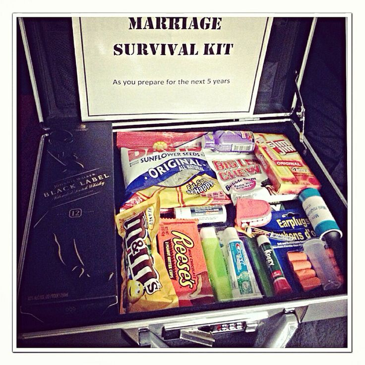 Marriage survival kit. Gave this to my husband as a gag
