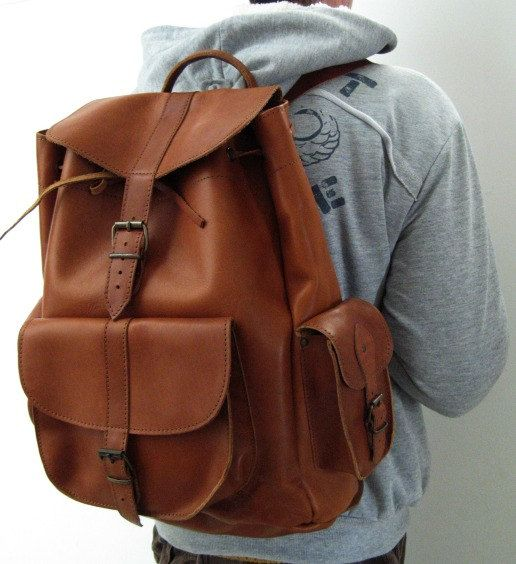 Leather Weekender XL Backpack from  genuine cowhide by EATHINI