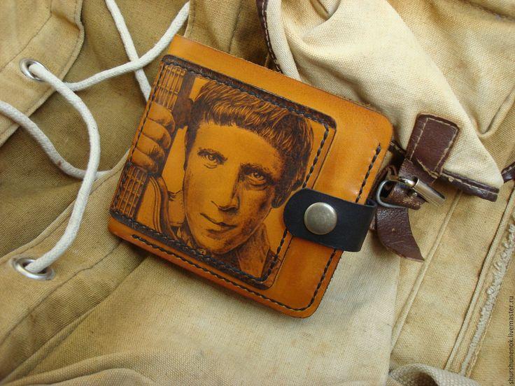 Купить Кожаный кошелёк - рисунок, высоцкий, портрет, ручная работа, ручная роспись, кошелек