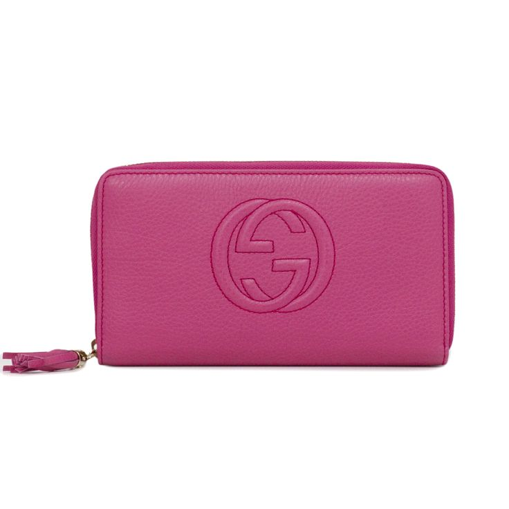Gucci Pink Soho Leather Zip Around Wallet - modaselle