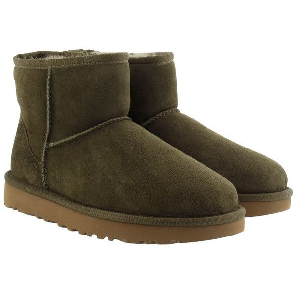 UGG Boots & Booties - W Classic Mini II Spruce - in green - Boots &... (490 TND) ❤ liked on Polyvore featuring shoes, boots, ankle booties, ankle boots, green, leather boots, round booties, flat leather booties and flat leather boots