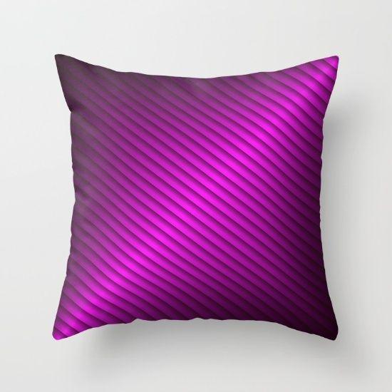 #Society6 Purple Oblique Stripes Throw Pillow by Elena Indolfi