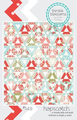 Hopscotch by Thimble Blossoms $8 jelly roll quilt ( no Y seams)Quilt Ideas, Thimbleblossoms, Paper Pattern, Quilt Patterns, Quilt Kits, Hopscotch Quilt, Jelly Rolls, Thimble Blossoms, Rolls Quilt
