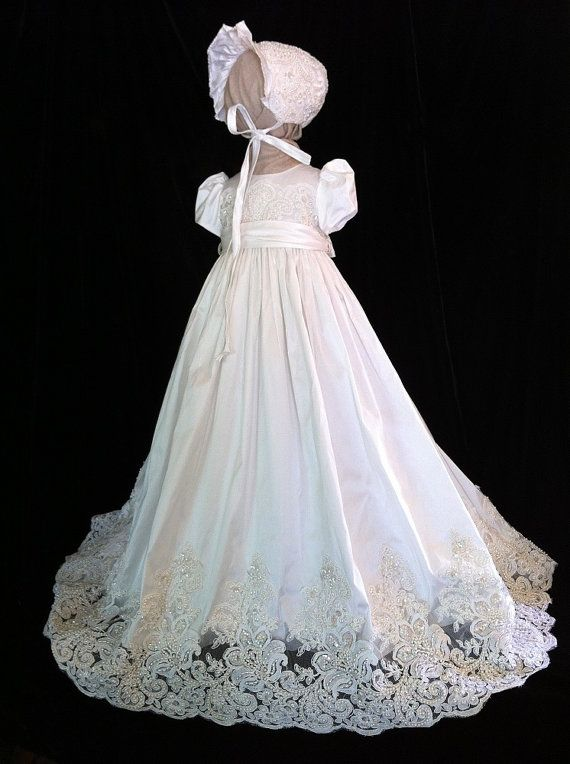 """Angela West Christening gown  """"Oriana V"""" latest generation with French Alencon lace.Size TBD included"""