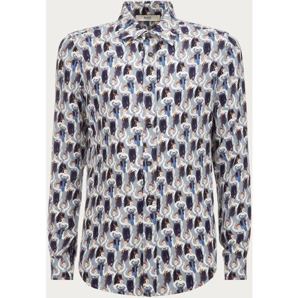 Bally Shoeman Printed Shirt Men's silk shirt in multi-marine ($1,150) ❤ liked on Polyvore featuring men's fashion, men's clothing, men's shirts, men's casual shirts, mens patterned shirts, mens classic fit shirts, mens print shirts and mens silk shirts