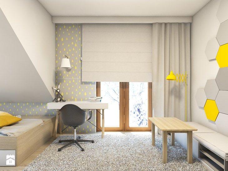 (Dom w okolicy Lublińca) Dom jednorodzinny 7 - Średni pokój dziecka dla chłopca dla malucha, styl skandynawski - zdjęcie od BAGUA Pracownia Architektury Wnętrz
