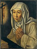 Catherine de' Ricci, O.S.D. (Italian: Caterina de' Ricci) (23 April 1522 – 1 February 1590), was an Italian Dominican Tertiary Religious Sister, and mystic. She also bore the Stigmata.  De' Ricci lived in the convent until her death in 1590 after a prolonged illness. She was beatified by Pope Clement XII in 1732, and canonized by Pope Benedict XIV in 1746.