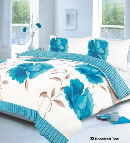 From 10.01 Rayyan Linen's 3pcs Rosaleen Teal Double Duvet Quilt Cover With Pillow Cases Bedding Set   All New By Gc