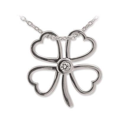 gümüş kolye, gümüş yonca, yonca kolye, 4 yapraklı yonca, doğa, sembol kolye, 925 ayar, pırlanta kolye, elmas