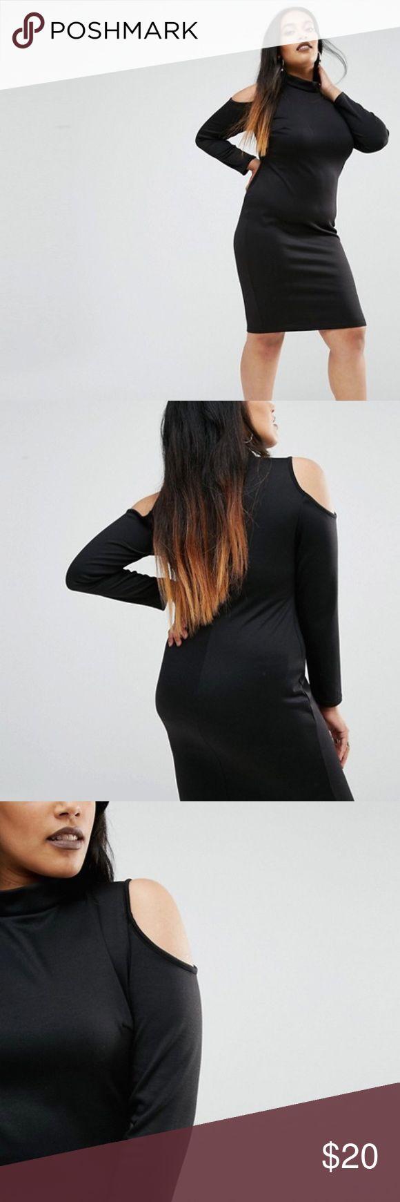 ASOS CURVE plus size black midi dress size 22 Adorable little black dress with cold shoulder detail. BRAND NEW NWT ASOS CURVE dress. Size 22. Hits right above knee. Very comfy. ASOS Curve Dresses Midi