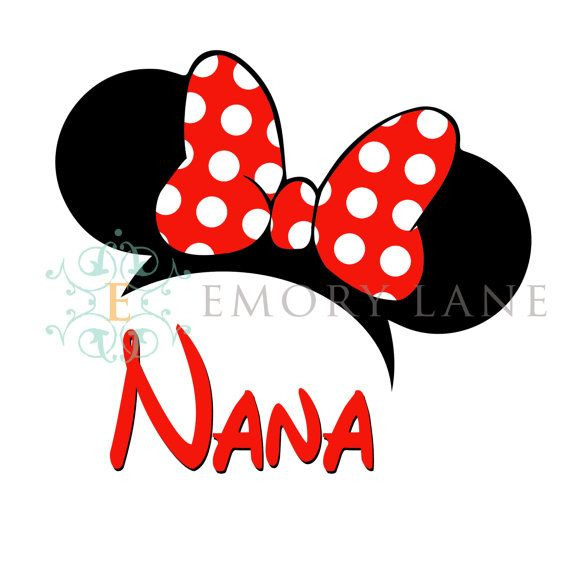 Mouse Ears Printable With Nana And Red Bow **Instant ...