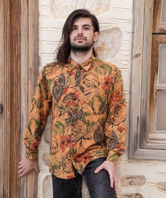 Vintage Crazy Pattern Shirt, Light Brown, Orange, Green, Long Sleeve, Men