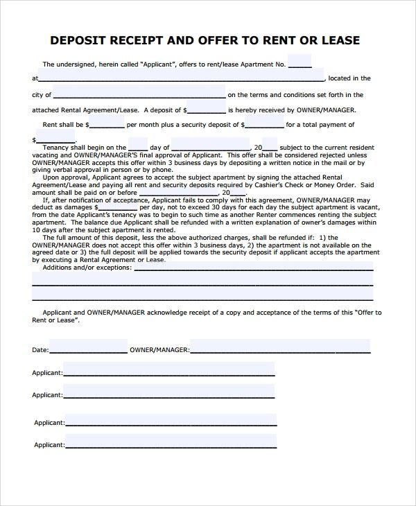 Free 8 Sample Security Deposit Receipt Templates In Ms Word Pdf In 2021 Receipt Template Templates Receipt