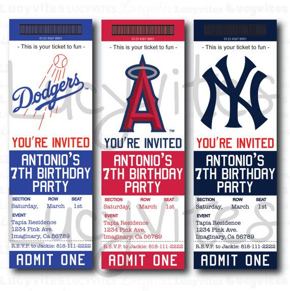 baseball ticket stub digital invitation any team by lucyinvites