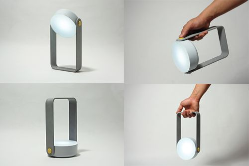 SPOT – a multipurpose light that quadruples as a torch, desk lamp, ambient light and wall light.   Made by Gloria Ngiam, Nigel Geh and Guillaume Bloget.