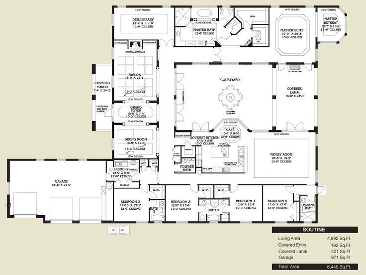 200de500185dbd1ca689acd05c4f4c2e courtyard house plans spanish style homes 16 best spanish design house plans images on pinterest,Spanish House Floor Plans