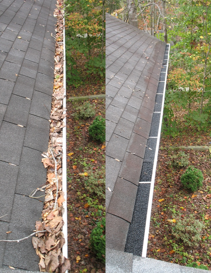 Gutters Full Of Leaves Were Cleaned And Gutter Filters