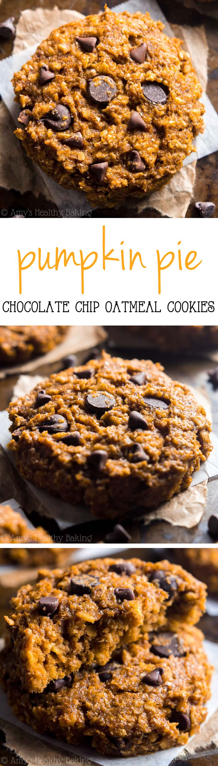 Skinny Pumpkin Pie Chocolate Chip Oatmeal Cookies -- these cookies don't taste healthy at all! You'll never need another pumpkin cookie recipe again!