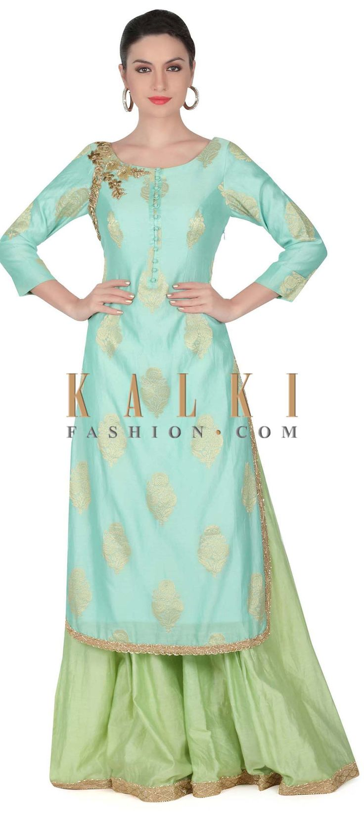 Buy this Turq straight suit embellished in zardosi butti only on Kalki