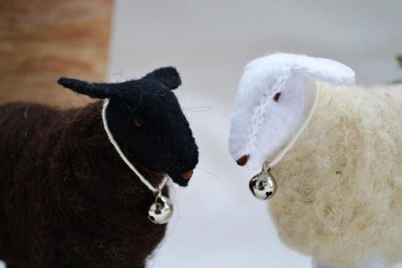Felt sheep - waldorf sheep - lamb - black and white sheep - waldorf toy - season table - Easter