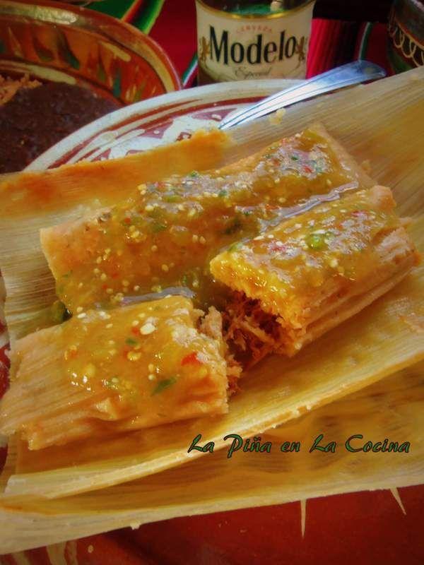 Monterrey style chicken tamales from La Piña En La Cocina