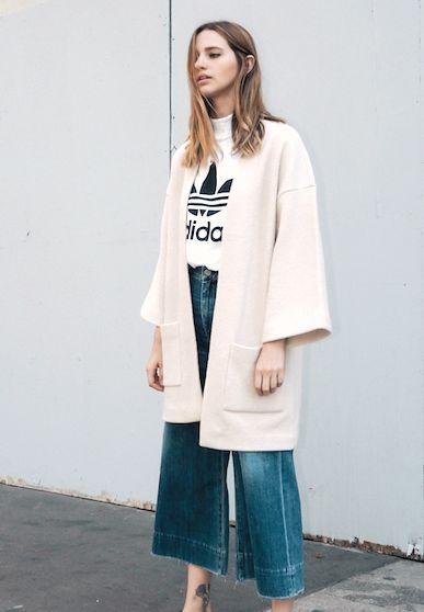 neutral coat, Adidas tee and denim culottes #style #fashion