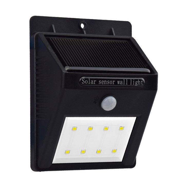 JustWare 2 Mode Bright 8LED Solar Power Lights Outdoor Wireless Security Sensor Solar Motion Light for Path Garden Road Exterior Lighting Black 1 PACK