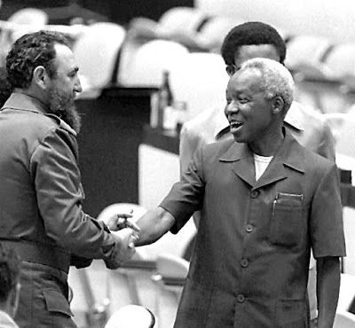 Clash of Worlds : RIP Fidel Castro  Cuba's relations with African nations has been extensive. Here Castro greets President Julius Nyerere of Tanzania