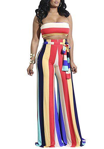 d43c49106c94 DingAng Women 2 Pieces Outfit Off Shoulder Stripe Crop Tops and Wide Leg  Long Pants With Belt