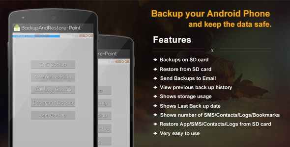 """Purchase the source code of app """"Backup & Restore Point""""for android only in $20"""