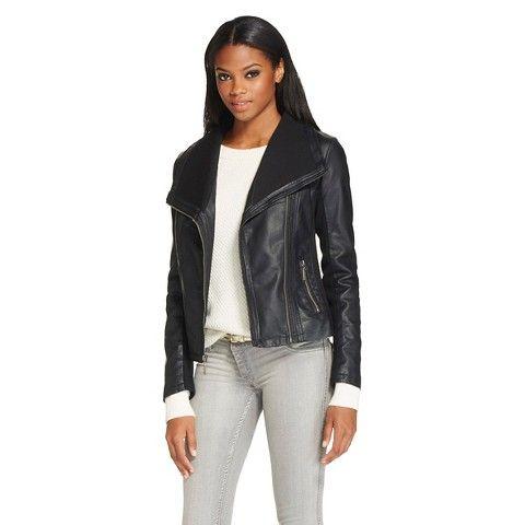 Women's Rib Knit Trim Faux Leather Jacket - Mossimo  $44.99  Machine wash