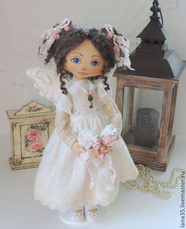 Купить Винтажный ангелок - бледно-розовый, интерьерная кукла, коллекционная кукла, ангелочек, подарок девушке