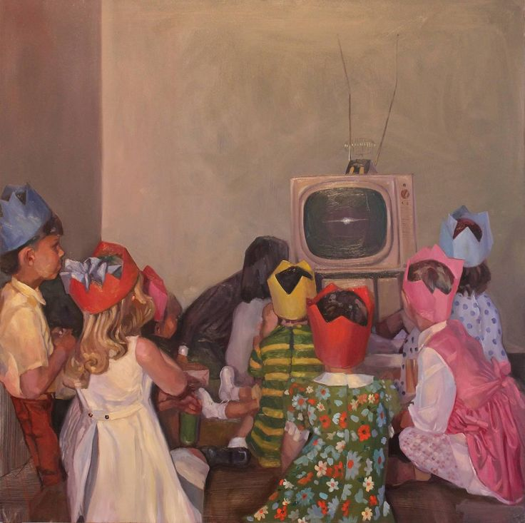 TV Nation (Modern Oil Painting of Child's Birthday Party from Vintage Photo)