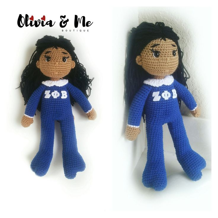 Zeta Phi Beta Inspired Crochet Doll, Pajamas, Sorority Girl, Natural Hair by OliviaandMeBoutique on Etsy